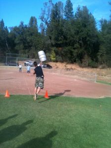 Tossing the keg competition